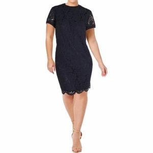 Lauren Ralph Lauren Lace T Shirt Shift Dress Navy